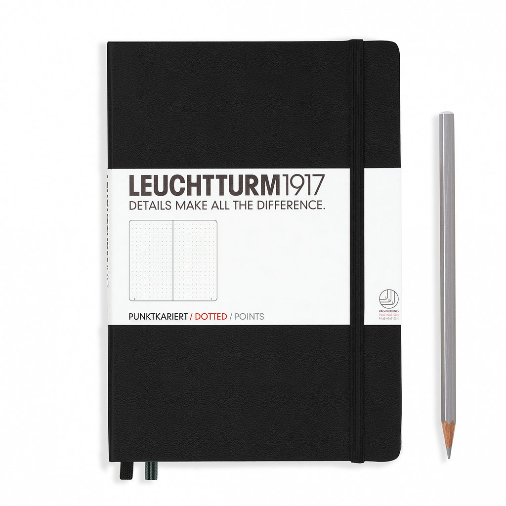 Leuchtturm1917 Medium A5 Notebook, Black - Dot Grid