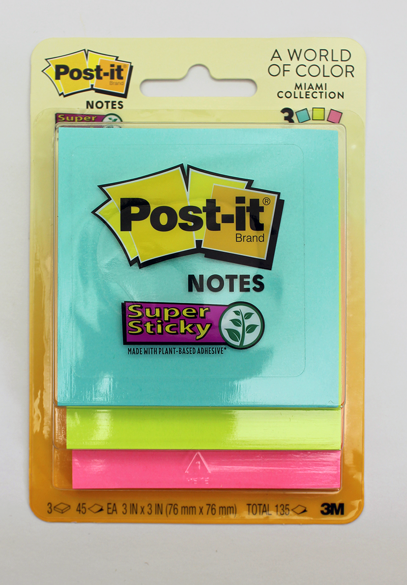 3M Post-it Super Sticky Notes, 3 in. x 3 in. - Miami Collection