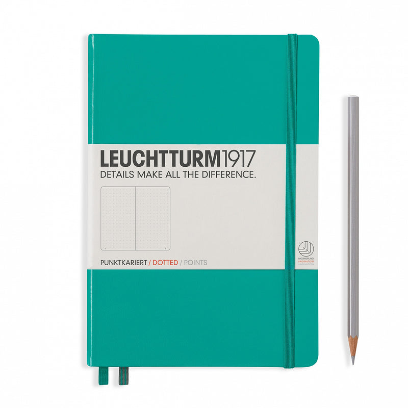 Leuchtturm1917 Medium A5 Notebook, Emerald - Dot Grid