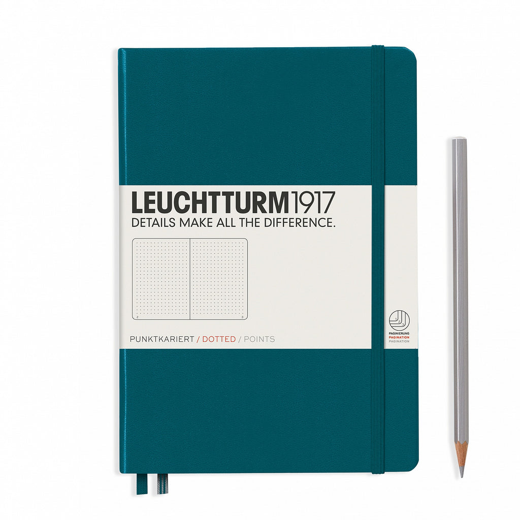 Leuchtturm1917 Medium A5 Notebook, Pacific Green - Dot Grid