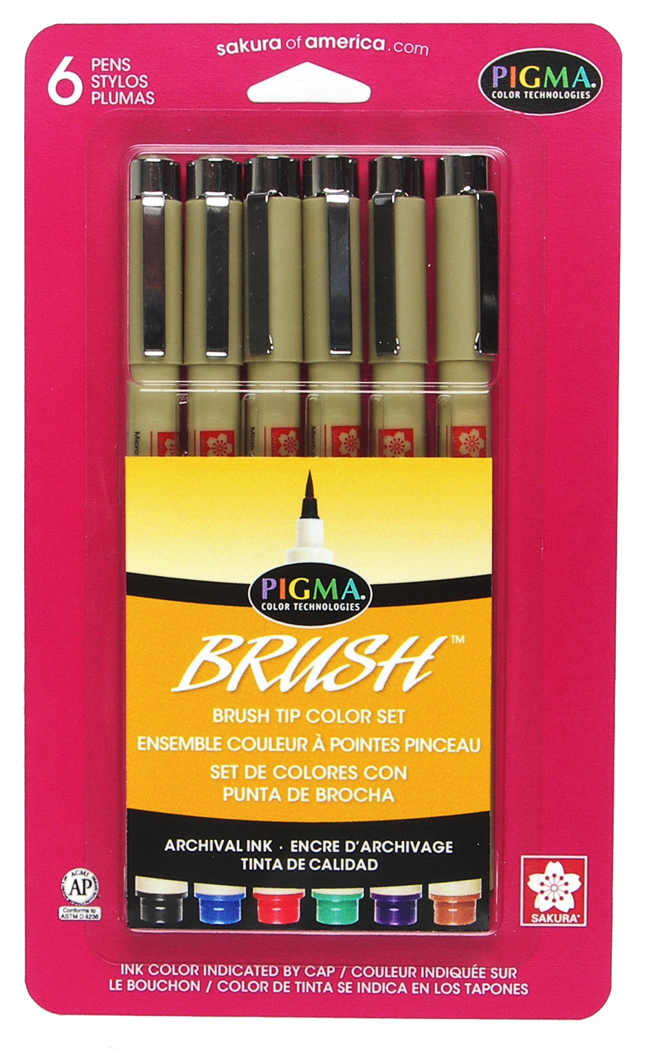 Sakura Pigma Brush 6 Pack Assorted