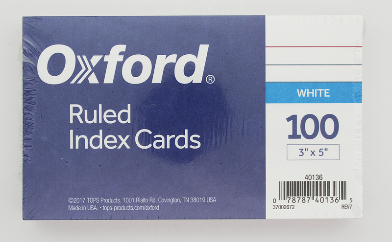 Tops Oxford Ruled Index Cards - 3in x 5in - White