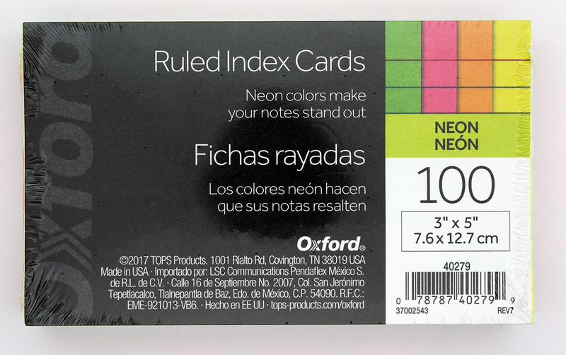 Tops Oxford Neon Index Cards - 3in x 5in - Assorted Colors
