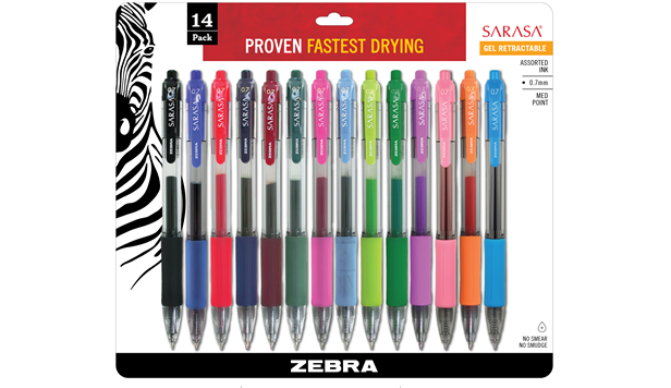 Zebra Sarasa Gel Retractable 0.7mm Assorted 14 Pack