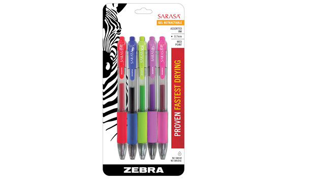 Zebra Sarasa Gel Retractable 0.7mm Assorted Fashion Bright 5 Pack