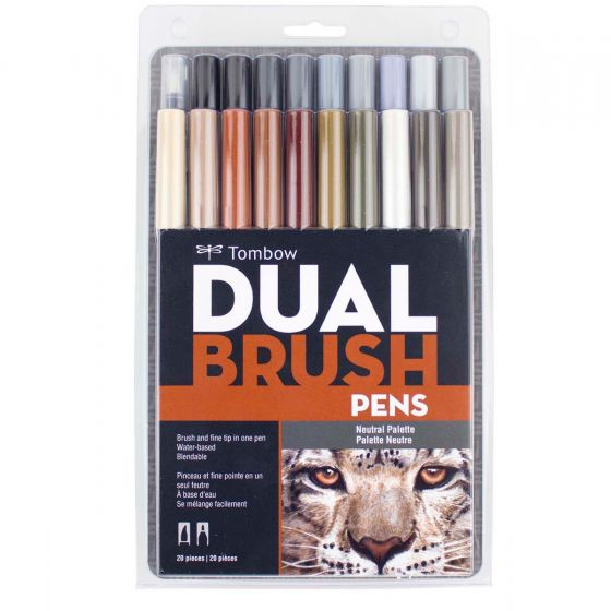 Tombow Dual Brush Pen Set, Neutral Palette - 20 pack