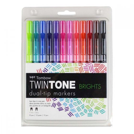 Tombow TwinTone Marker Set, Bright, 12-Pack