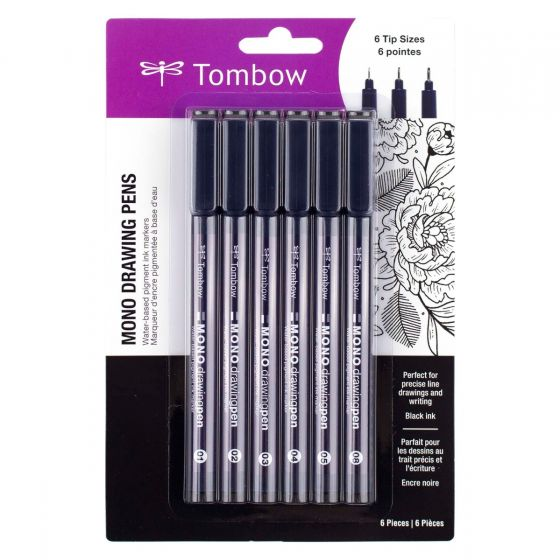 Tombow MONO Drawing Pen, 6-Pack