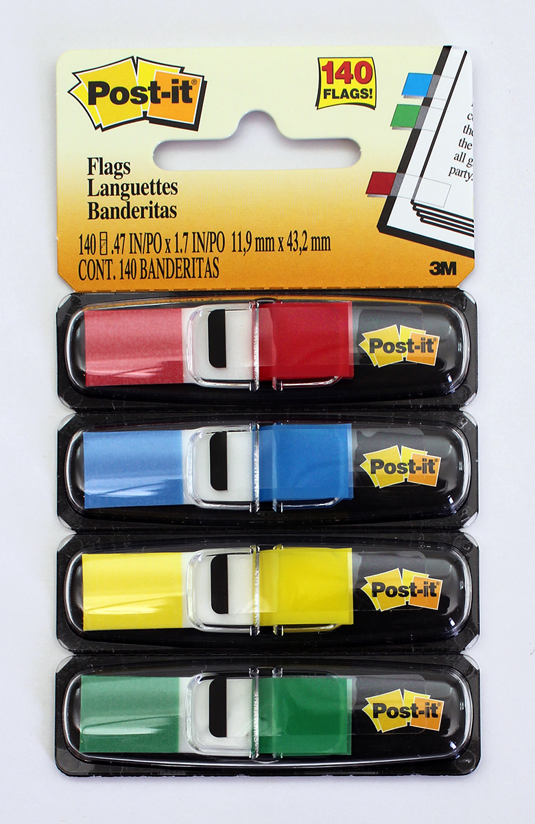 3M Post-It Flags - Black Dispenser - Primary Colors - .47 Wide