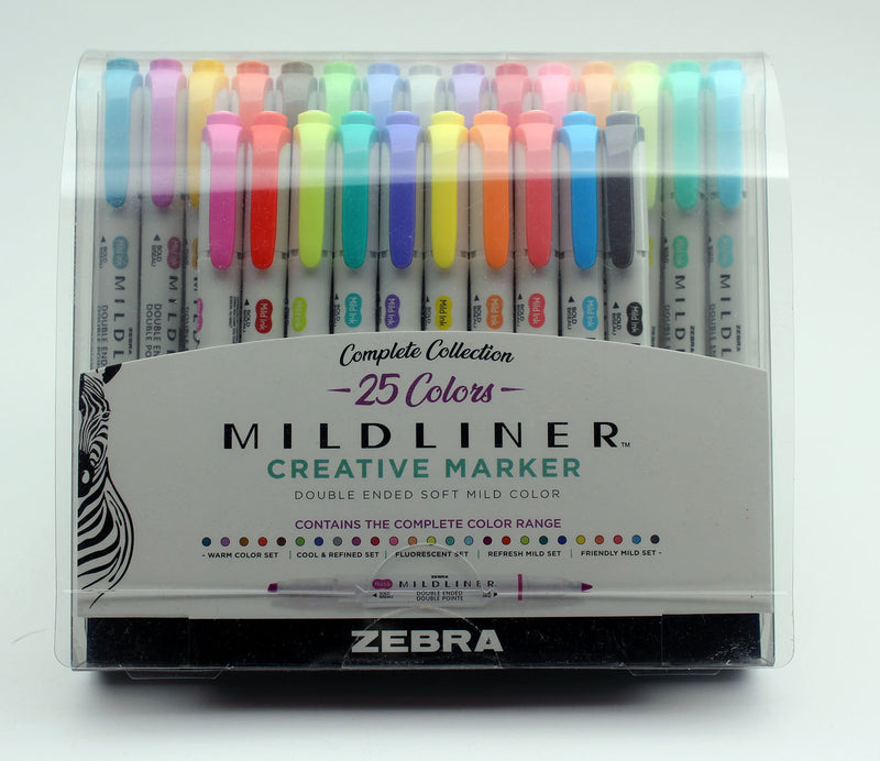 Zebra Mildliner Double Ended Highlighter Assorted - 25 Pack