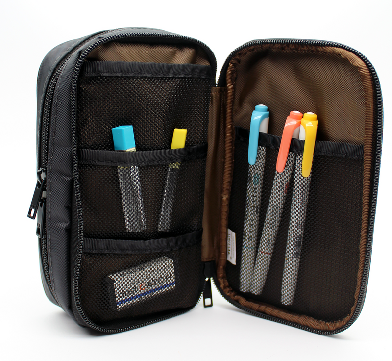 Lihit Lab Book Style Pen Case - Double - Black