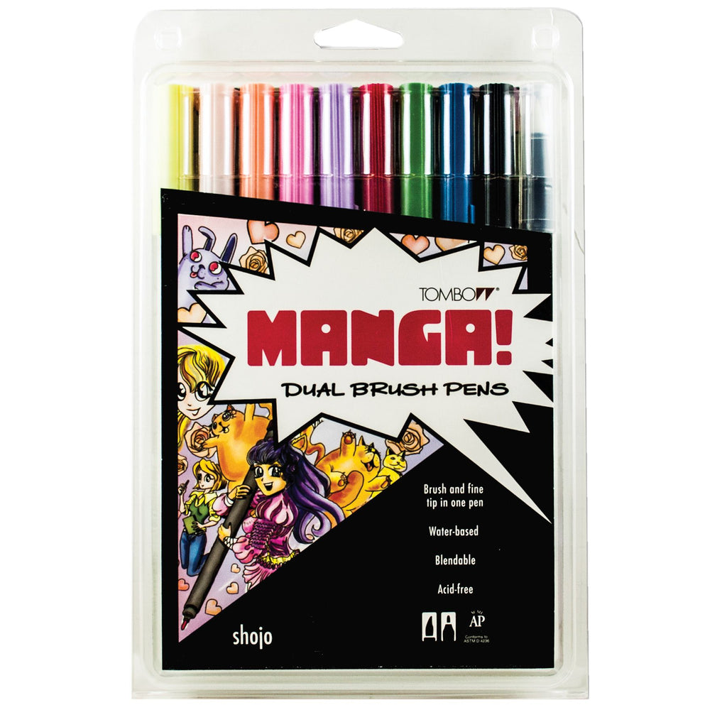 Tombow Dual Brush Pen Set, Manga Shojo - 10 pack