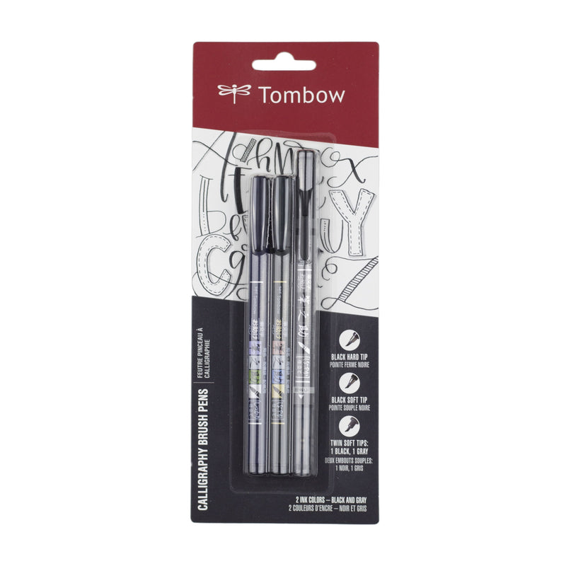 Tombow Fudenosuke Brush Pen 3-Pack