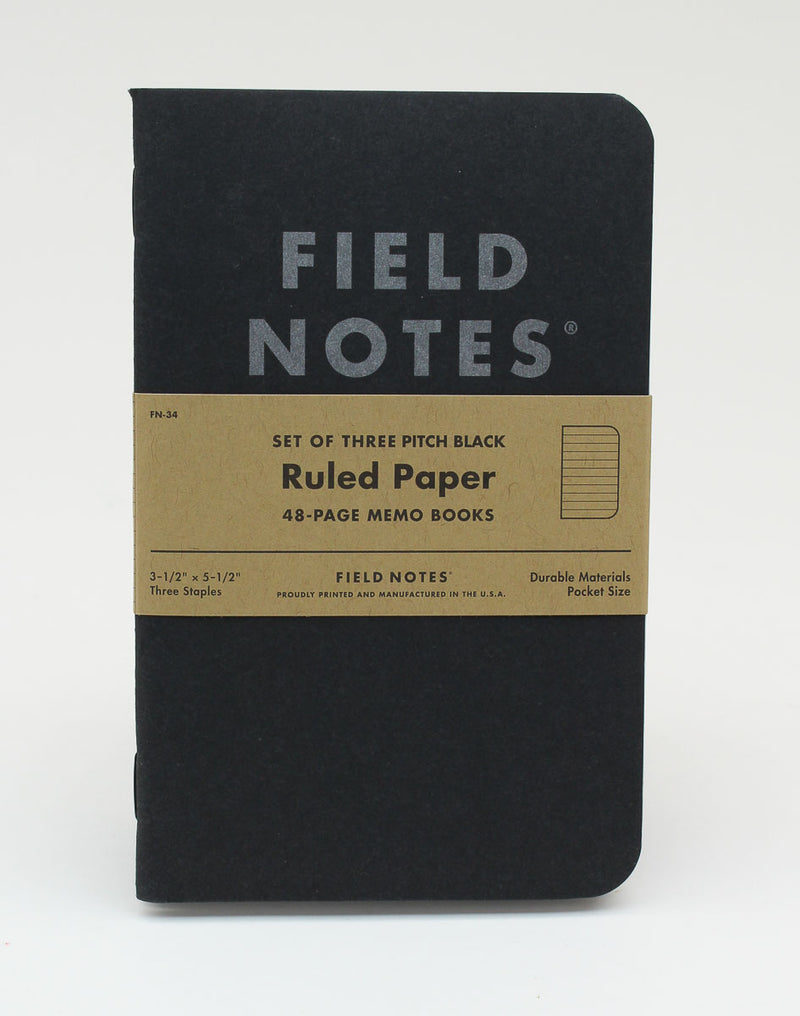 Field Notes Notebook - Pitch Black - Ruled