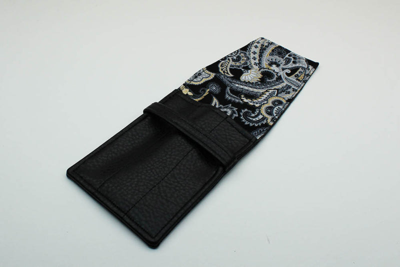 Black Leatherette Pen Case - Paisley