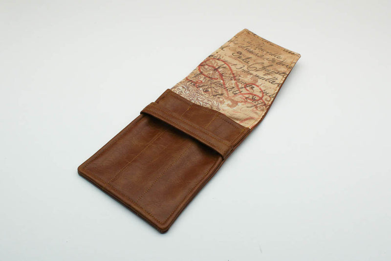 Tan Leatherette Pen Case - Script