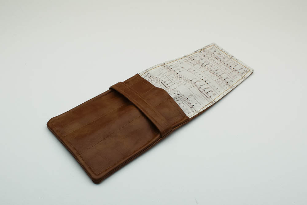 Tan Leatherette Pen Case - Music