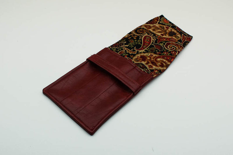 Red Leatherette Pen Case - Paisley