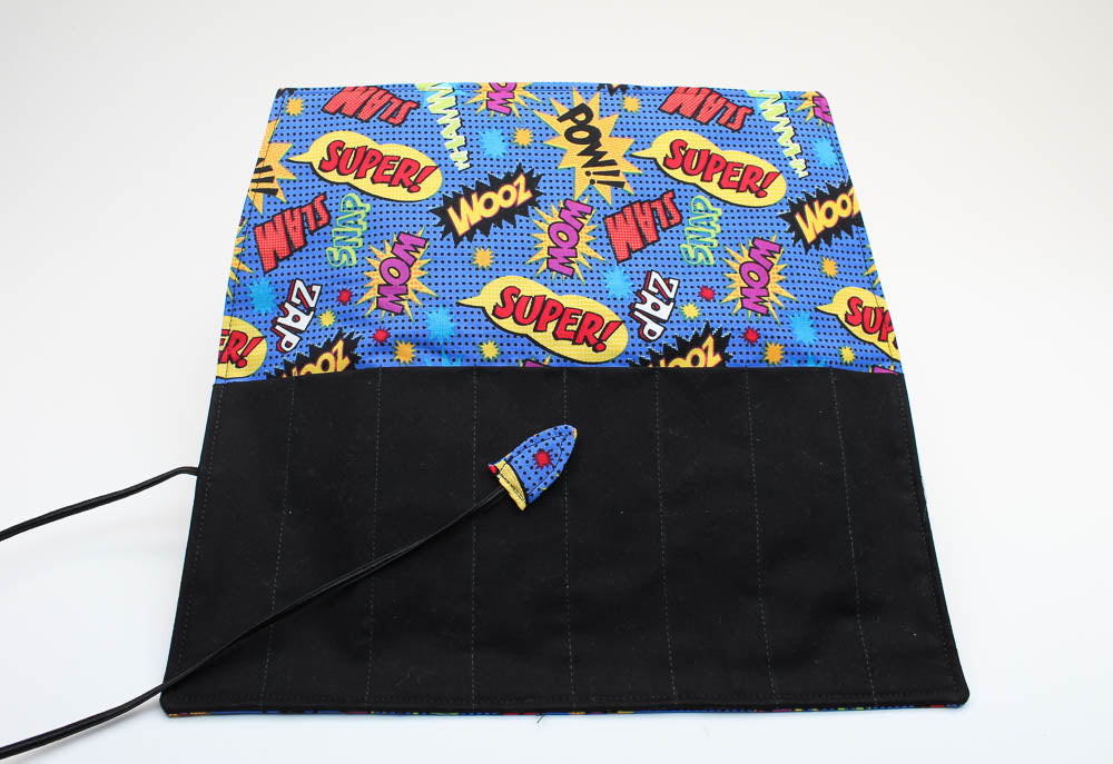 Handmade Pen Roll - Comic Book Fabric