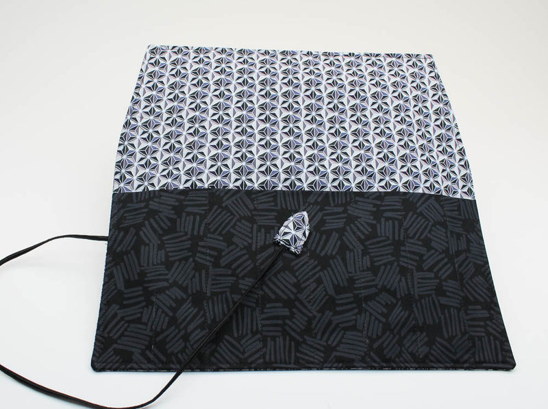 Handmade Pen Roll - Gray Diamond Print Fabric