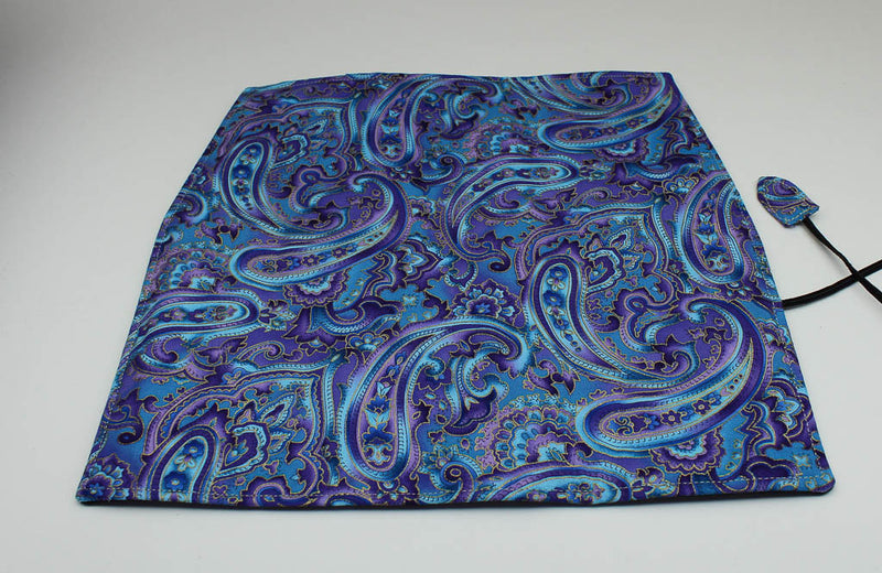 Handmade Pen Roll - Purple Paisley Print Fabric