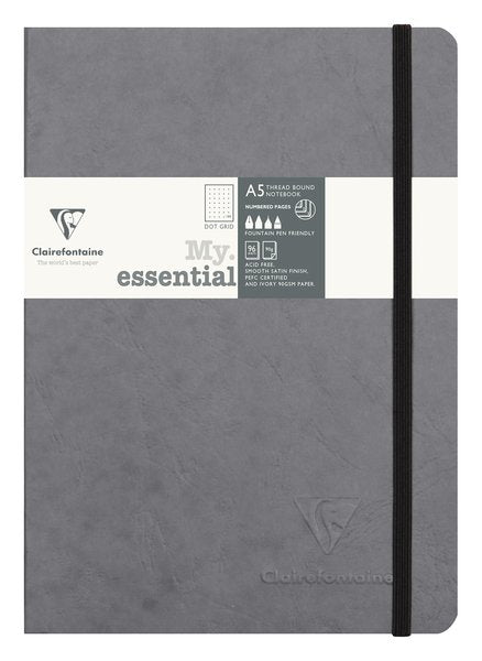 Clairefontaine My Essential Notebook Dot Grid A5 - Gray