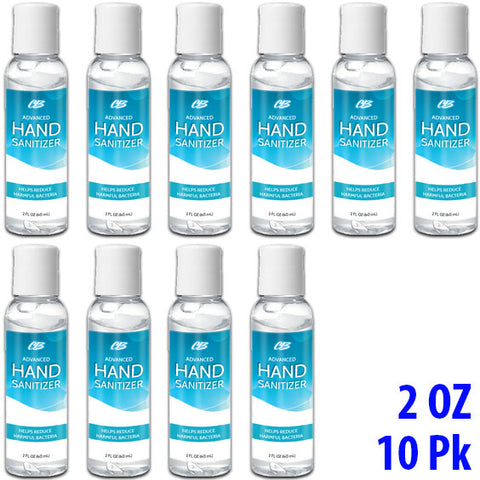 CB Protects Advanced Alcohol Hand Sanitizer 2 oz Bottles - BULK 10 Pack