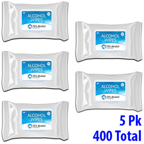 CB Protects Alcohol Sanitizing Hand Wipes - Bulk 5 Pack - 400 Wipes Total