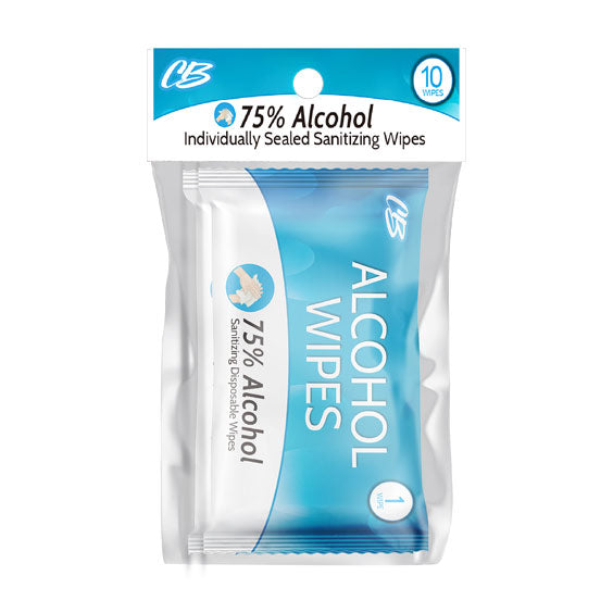 CB Individually Sealed Alcohol Sanitizing Wipes 10 Ct BULK 20 Pack