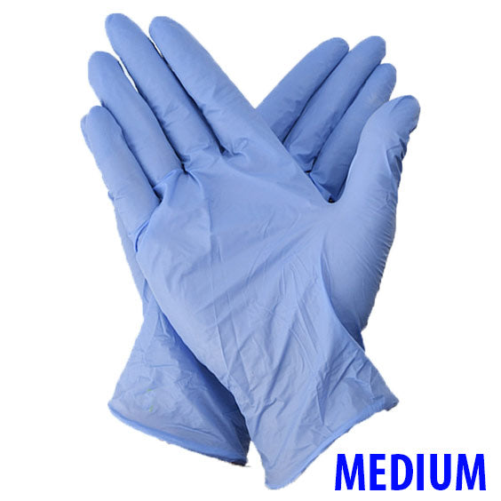 CB Protects Nitrile Powder-Free Blue Gloves - Size Medium (100 Count Box)