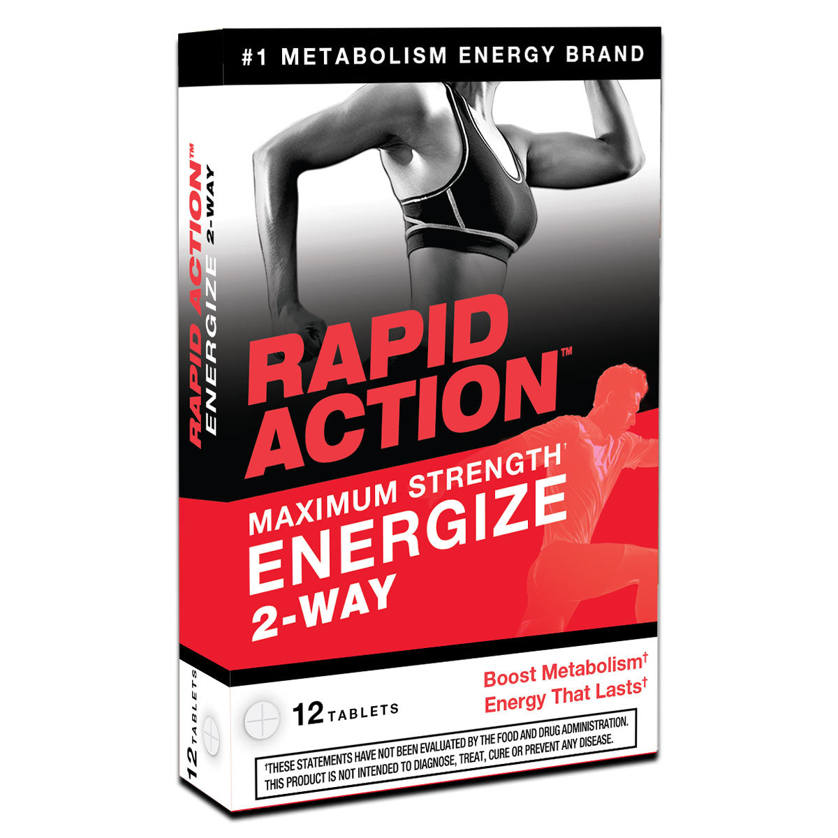 Description Ingredients Why Buy From Us Delivery and ReturnsRapid Action is the fastest growing energy brand on the market and is a top selling dietary supplement. With over a million units sold, you can be assured of a great quality product.Rapid Action ENERGIZE 2-Way provides an extra energy boost that fights fatigue, brings back focus, and just makes you feel like you again! Get theendurance tofulfill all your daily activities, as well as speed up your metabolism. (1 Blisters of 12 Tablets) 12 Count  Increases Energy  Maximum StrengthManufactured in the USABefore taking collagen any supplement, always talk with your physician first to ensure it will not interfere with any current prescription medicines or treatments.These statements have not been evaluated by the US Food & Drug Administration. This product is not intended to diagnose, treat, cure or prevent any disease.Ingredients: Proprietary energy blendincluding B12, Magesium and Zinc.Other Ingredients: Methylephethine, Black Pe