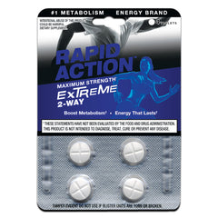 Rapid Action EXTREME 2-Way Maximum Strength Energy Pills - Boost Metabolism (4 Tabs) 10-772-4CT