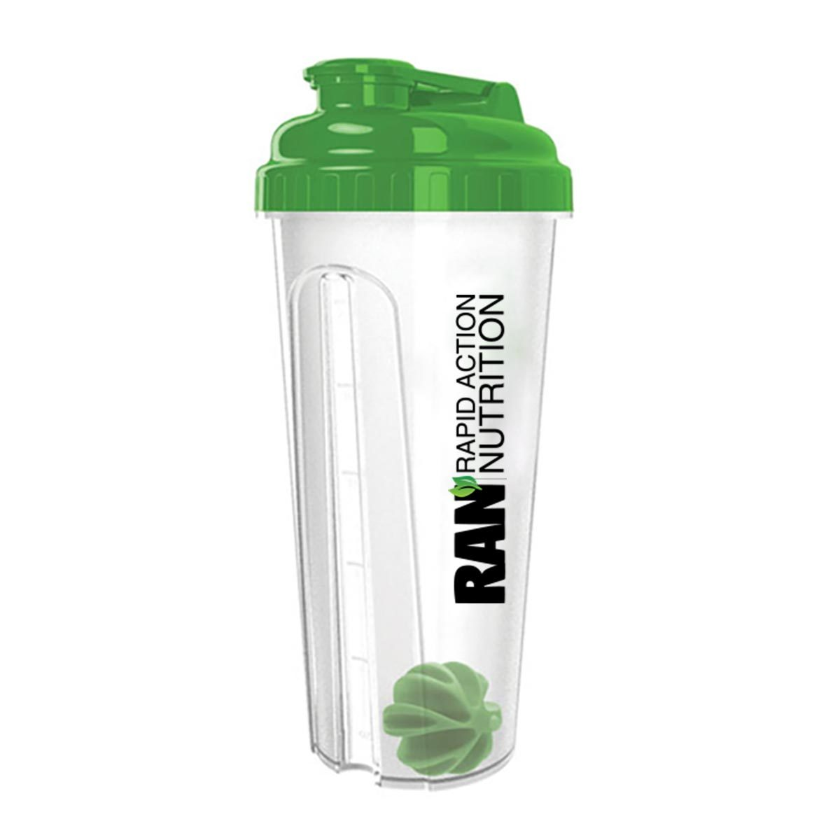 Description Why Buy From Us Delivery and ReturnsOur 24 oz. shaker bottle comes with a screw on lid and a wide opening to drink from. Use the convenient side measurement scale to either measure your ingredients of track your liquid intakeThis bottle is BPA-free, dishwasher safe and measures 3 7/8 inches wide by 9 1/4 inches high. It comes with a plastic mixing ball. The lid snaps securely to prevent leakingHere are4 more great reasonsto buy from us: You get a full 60 days to return your item to us.We want you to have plenty of time to try our products out because we are confident you'll be very pleased.Returns are easy, simply contact us and let us know what the problem is. We'll work with you to resolve that issue in a snap!We insist that you love everything you buy from us. If you're unhappy for any reason whatsoever, just let us know and we'll bend over backwards to make things right again.Ordering from Rapid Action Nutrition is 100% safe and secure. We are secured through GeoTrust