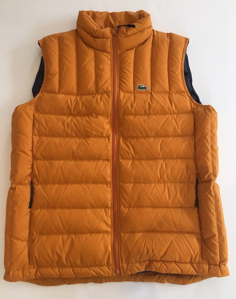 NWT Lacoste Goose Down Packable Ripstop Orange Quilted Vest Mens Size 54 Large