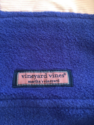 Vineyard Vines Blue Shep Fleece Pullover Jacket 1/4 Zip Shoulder Stripes Women M