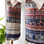 Beach Lunch Lounge Patterned Shift Dress Sz M/L (B)