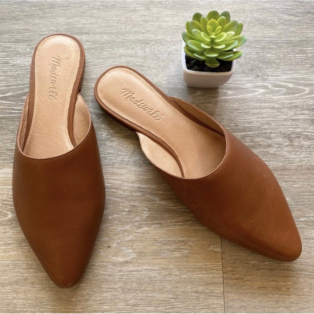 Madewell Pointed Toe Leather Mules Sz 7.5