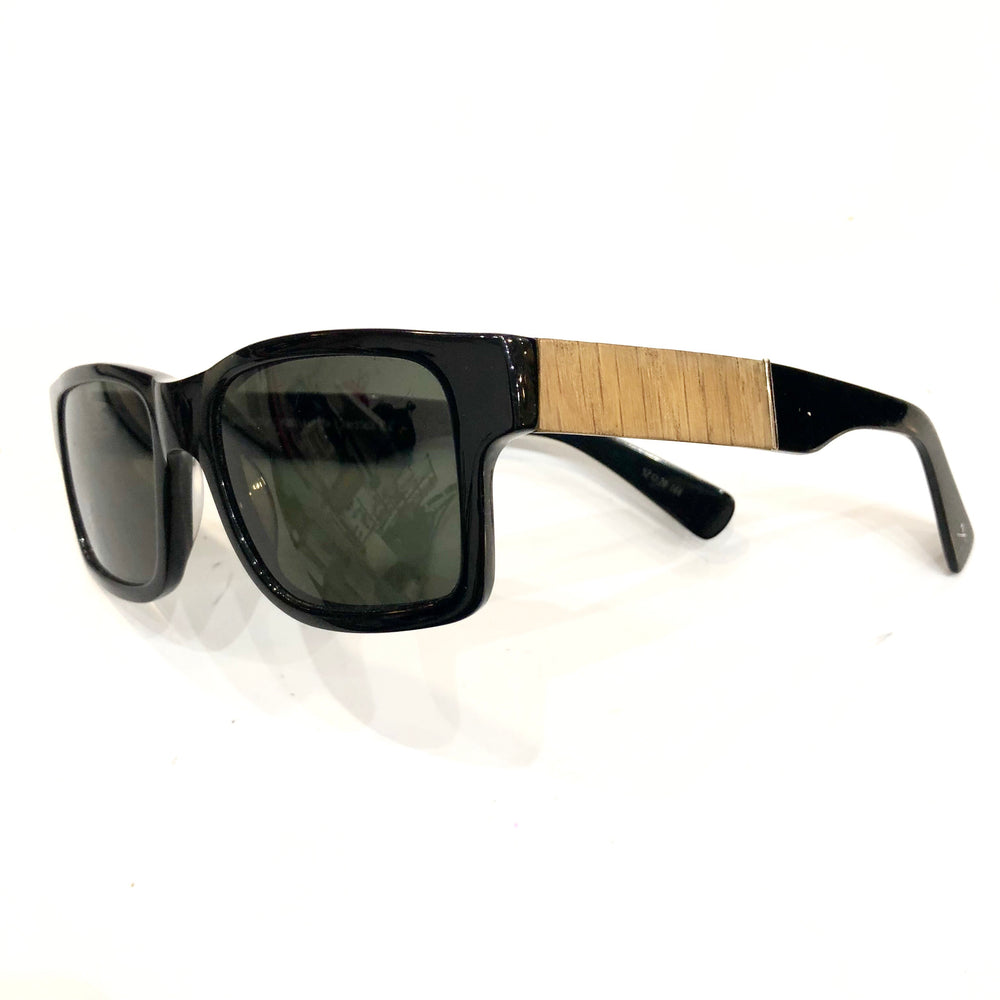 Shwood Black Wide Wood Frame Sunglasses (F)