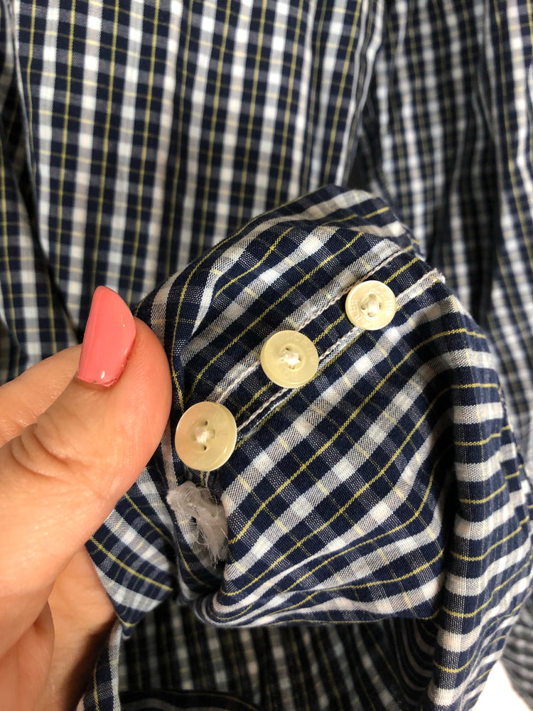 J.Crew Washed Casual Blue White Yellow Plaid Button Down Sz Small (f)