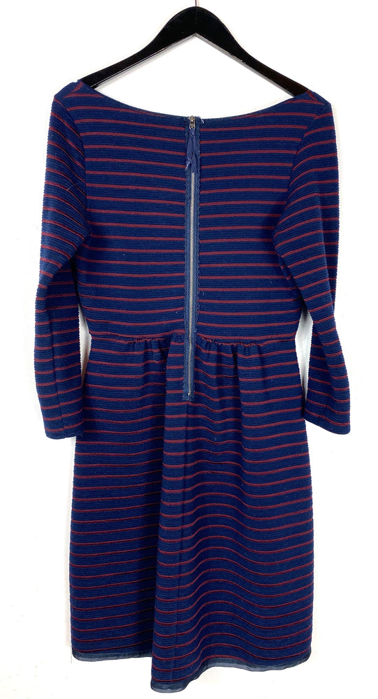 Anthropologie Maeve Navy Burgundy Textured Stripe Dress Sz 6 (SB)