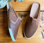 NEW Frye Melanie Perforated Slip On Mules in Cognac Sz 10 (F)