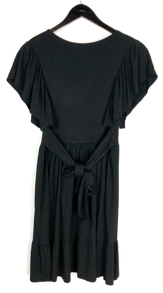Velvet Black Ruffle Sleeve Tie Back Dress Sz Small (f)