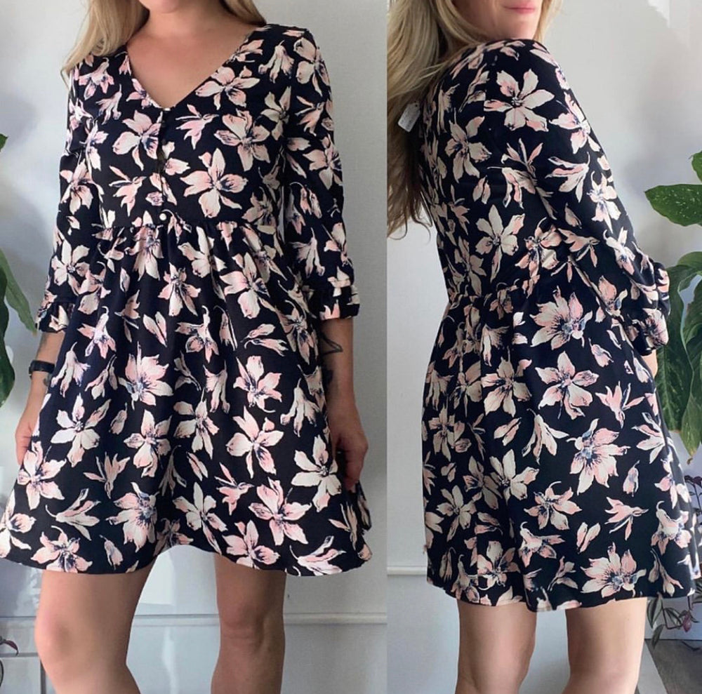 Madewell Floral Flutter Sleeve Dress Sz 6
