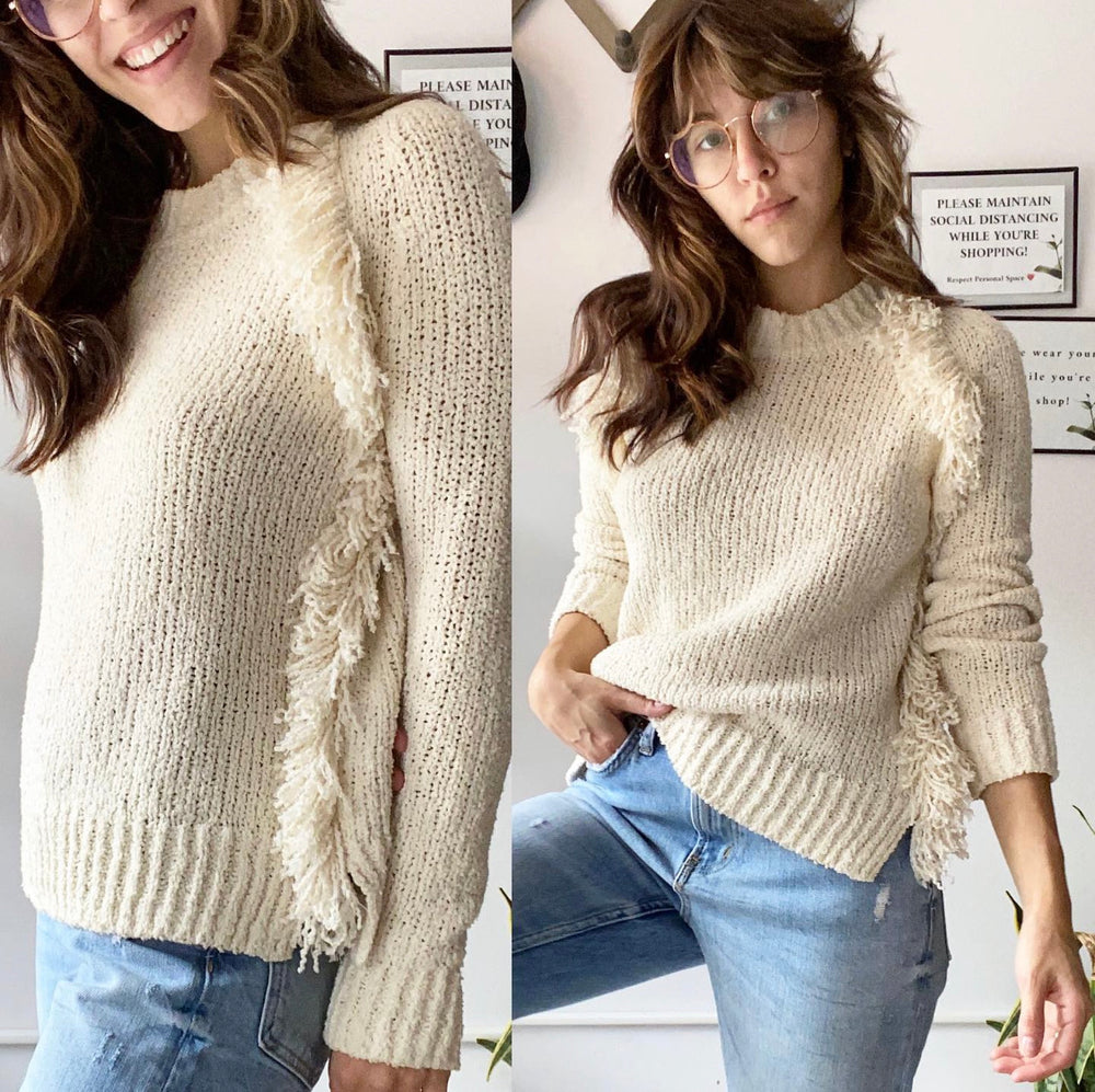 Madewell Ivory 'Loop-Edge Pullover Sweater' Sz XXS