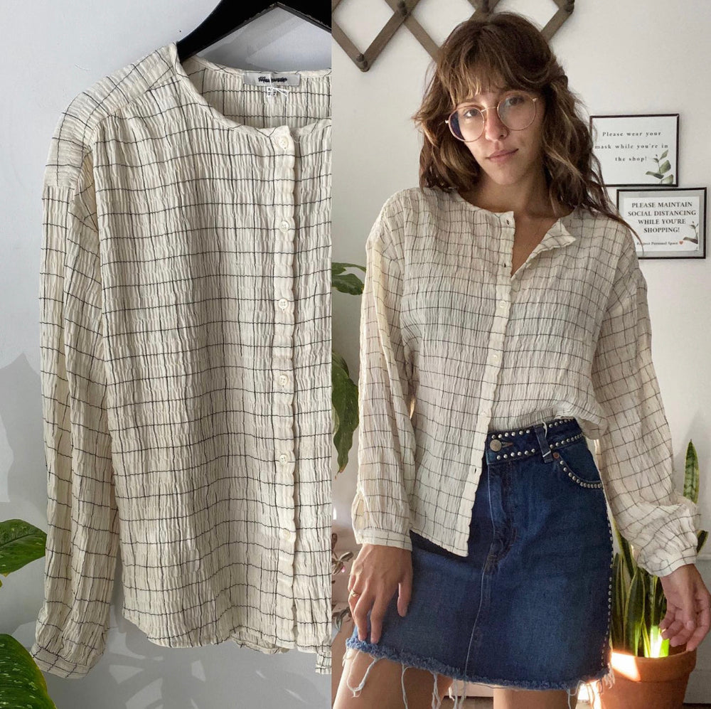 Madewell Windowpane Meadow Blouse Sz XXS