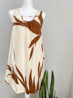 Jenni Kayne White Brown Floral Silk Bubble Hem Dress Sz Small AS IS (B)