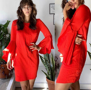 MILLY  Tomato Red Bell-Sleeve Silk Dress Sz 0