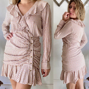 Veronica Beard Rouched Button Down Dress Sz 14 fit 8/10