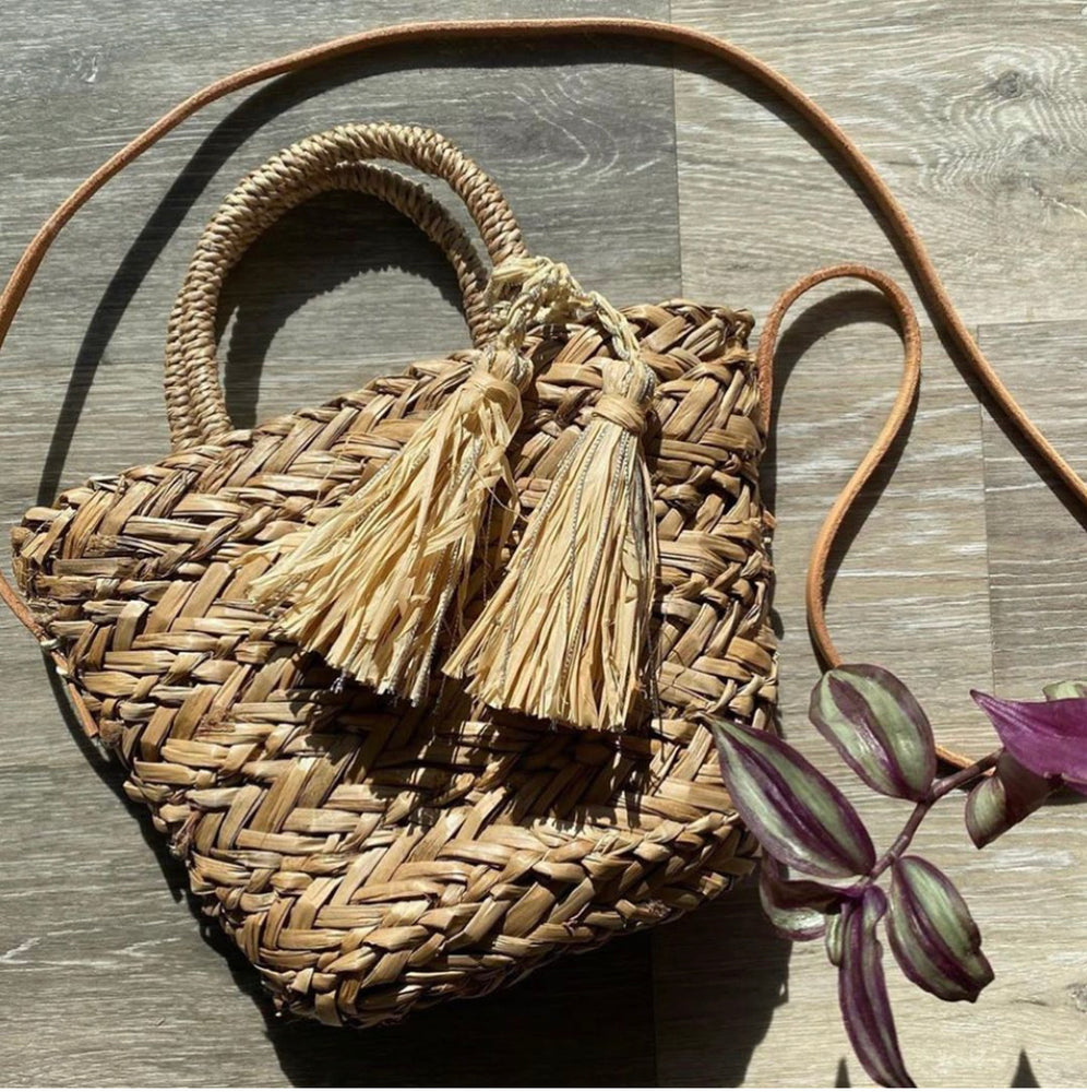 Bujabaja Woven Basket Crossbody bag with Tie-Top Closure