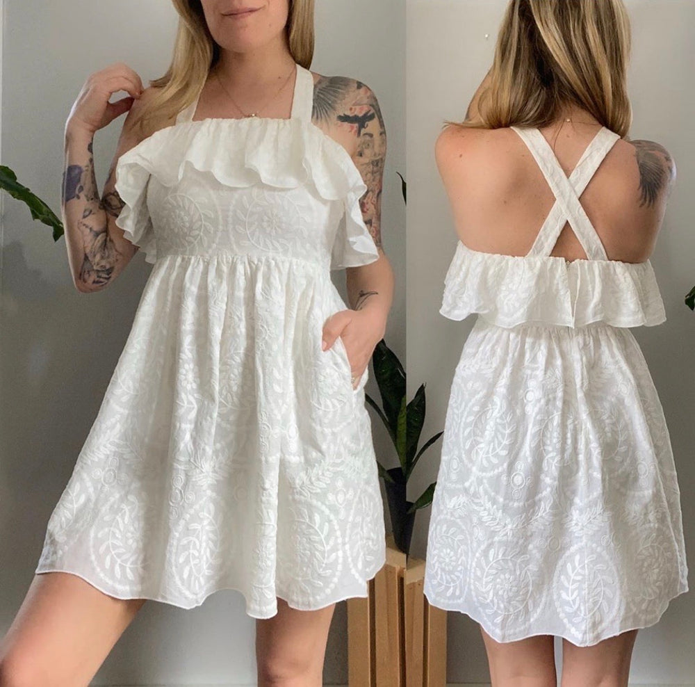Madewell 100% Cotton Embroidered Sun Dress Sz 00 (F)